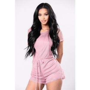 "Fashion Nova ""Gone Fishin"" Romper in Rose"